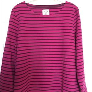Joules Harbour Jersey Top - Fuchsia Striped - 14